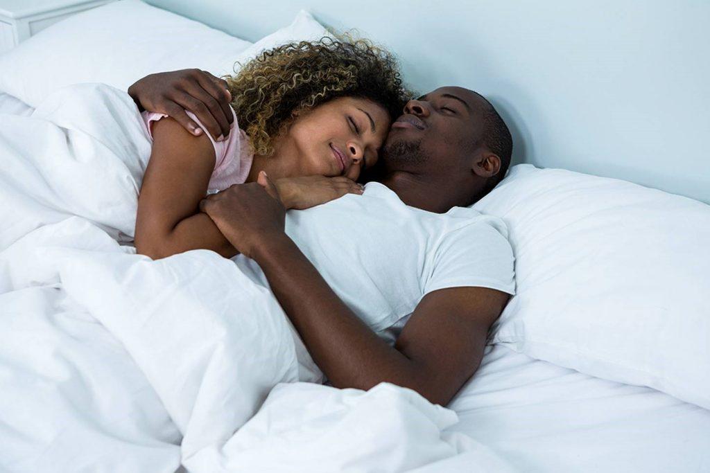Happy sleeping couple